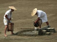 写真2 沼井への海水の注ぎ込み(2014年7月24日)