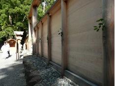 写真3 外宮板垣に飾り付けられた榊 (2014年8月11日)
