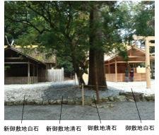 写真2 雨の外宮の新御敷地、中央は心御柱覆屋、右の建物は忌火屋殿(2014年10月5日)