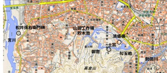 図1 伊勢市の外宮付近の地形図(国土地理院,2015に追記)