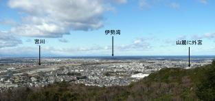 写真2 三郷山展望台からの宮川と伊勢平野(2015年2月22日)