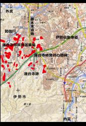 図1 蓮台寺柿栽培地の分布(赤色)国土地理院の地図に加筆,Googleの航空写真(2014)と現地調査から作図