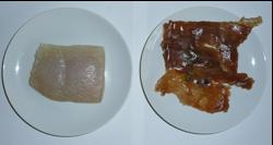 写真1 加熱前の塩干し(左)と味醂干し(右)のさめのたれ(2015年1月22日)