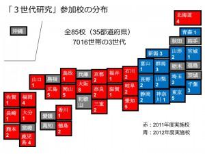図2. 「3世代研究」参加校の分布:数値は各県で参加した施設数。北は北海道から南は鹿児島まで、全85校の大学、短大、専門学校が参加しました
