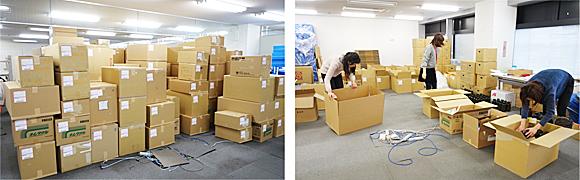 図4. 調査用物品発送作業(参考):別の調査の際の物品発送作業の様子です。このときも業者の倉庫をお借りして、200ほどの調査施設ごとに必要な物品を詰めていきました。研究者はデータを分析するだけではなくて、ときにはこのような体力の必要な仕事も行います。