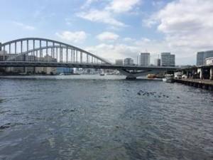 写真1 築地市場から、オリンピック道路の「築地大橋」を見る