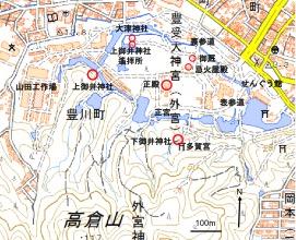 図1 外宮境内の井戸に関係する施設配置(地理院地図を加工)