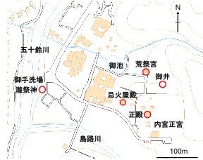 図1 内宮の御水関係の施設図(国土地理院地図を加工)
