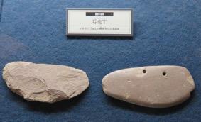 写真6 弥生時代の磨製(右)と打製(左)の石包丁(下関市立考古学博物館,2016年11月10日)