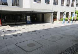 写真2 平安宮造酒司の倉庫跡。床面の丸い印は柱跡(2017年4月28日)
